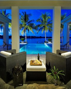 Beauty pool,palms,water evening